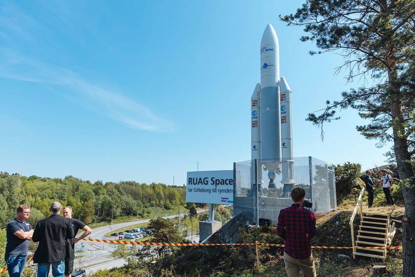 Ariane-5, scale 1:5 Göteborg Sweden RUAG Space rocket model